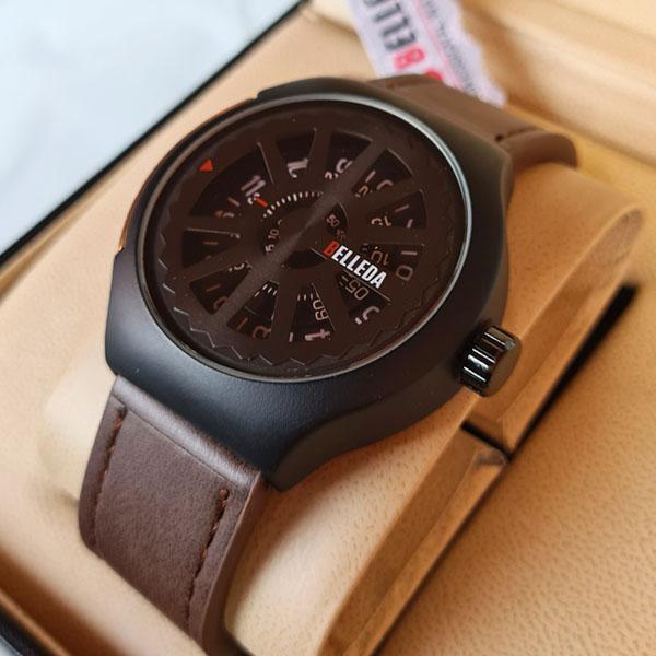 Belleda B8715 Leather Strap Original Watch Dial Black Color