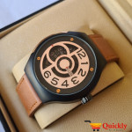 Belleda 8715 Leather Strap Watch Gold And Black Dial With Brown Strap