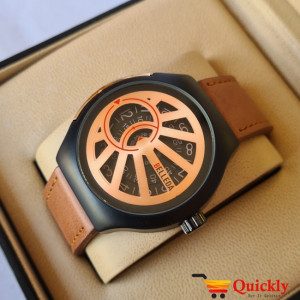 Belleda 8715 Leather Strap Watch Gold And Black Dial With Brown Strap Stylish Watch