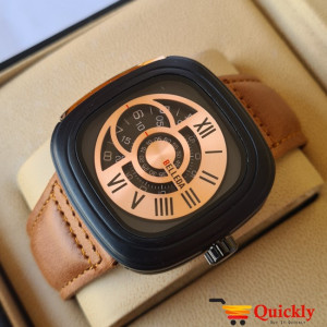 Belleda 8714 Leather Strap Watch Gold And Black Dial With Brown Strap