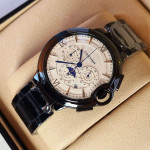 Cartier White Black Moon Chain Strap Chronograph Watch