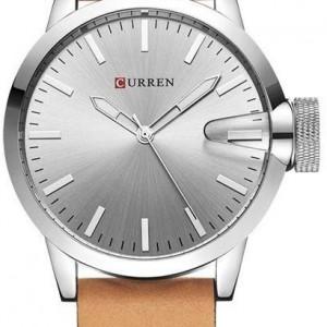 Curren M8208 Men's Watch  Brown Leather Strap grey diagonal