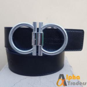 Ferragamo Silver Round Shiny Buckle Belt