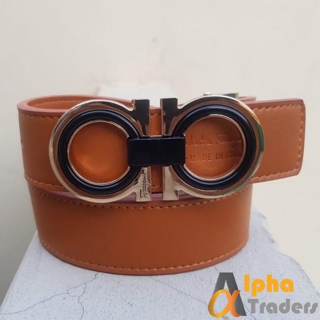 Ferragamo Black & Gold Buckle Belt