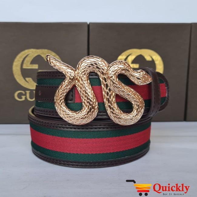 Gucci Imported Belt Gold Buckle Snake Design