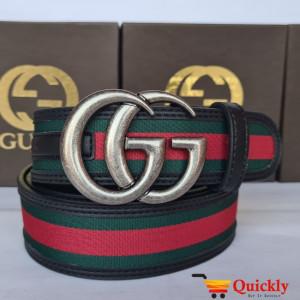 Gucci Original Leather Belt Silver Buckle