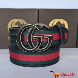 Gucci Imported Belt Black & Gold Buckle
