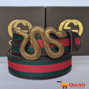Gucci Imported Belt Gold Stylish Buckle Snake Design