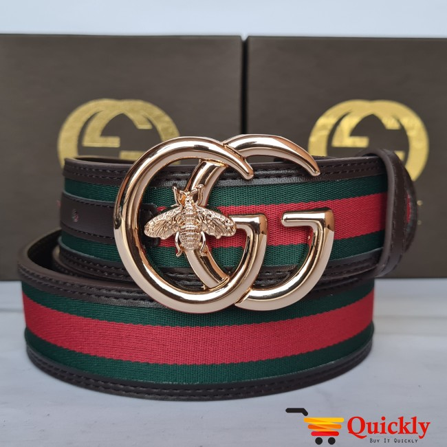Gucci Imported Belt Gold Stylish Buckle Bee Design