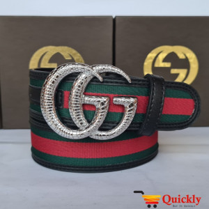 Gucci Imported Belt Silver Color Design Buckle