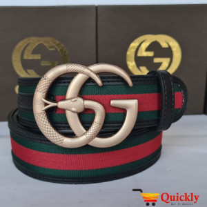 Gucci Imported Belt Gold Stylish Snake Design Buckle