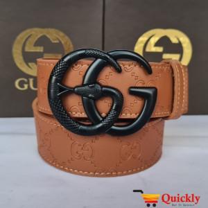 Gucci Imported Belt Black Snake Design Buckle