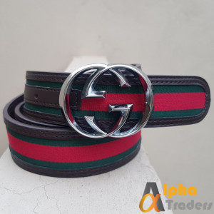 Gucci Imported Belt Silver Buckle With Multicolor Belt