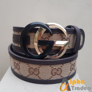 Gucci Imported Belt Black Gold Buckle With Multicolor Belt