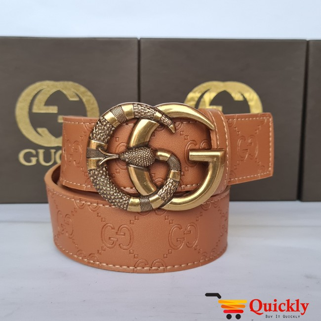 Gucci Imported Belt Gold Snake Style Buckle