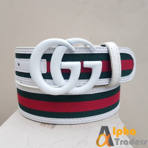 Gucci Imported Belt White Buckle With Multicolor Belt