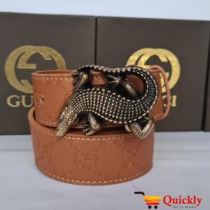 Gucci Imported Belt Gold Crocodile Stylish Buckle