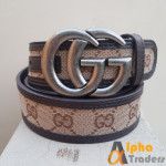 Gucci Imported Belt Grey Color Buckle With Multicolor Belt