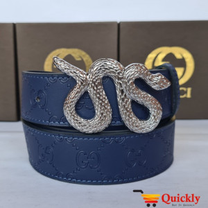 Gucci Imported Belta Silver Buckle Snake Design