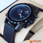 Kademan K811G Watch Leather Strap Analog & Digital Stylish Watch
