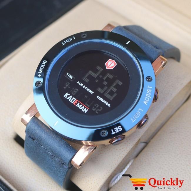 Kademan K010G Watch Leather Strap Digital Watch Dark Brown