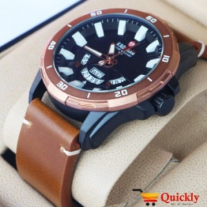 Kademan 6158 Watch With Day & Date Leather Strap