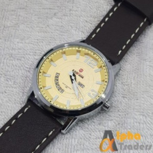 Kademan 9028G Watch Leather Strap With Day & Date