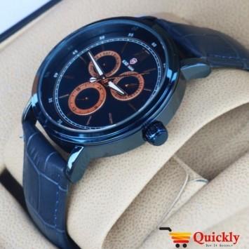 Kademan 818G Watch Chronograph Leather Strap