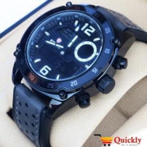 Kademan K820G Watch Leather Strap Analog & Digital Watch
