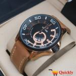 Kademan 6171 Analog Watch with Date Leather Strap