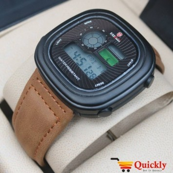 Kademan K365 Brown Digital Watch Leather with Night Vision