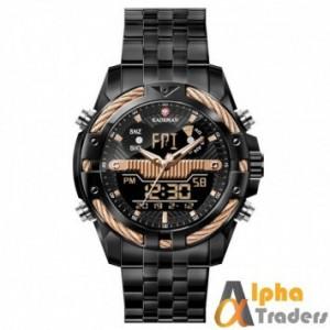 KADEMAN 9076 Black Gold Brand Men's Watch Mens Sport Watch LED Quartz Watches Stainless Steel Army Military