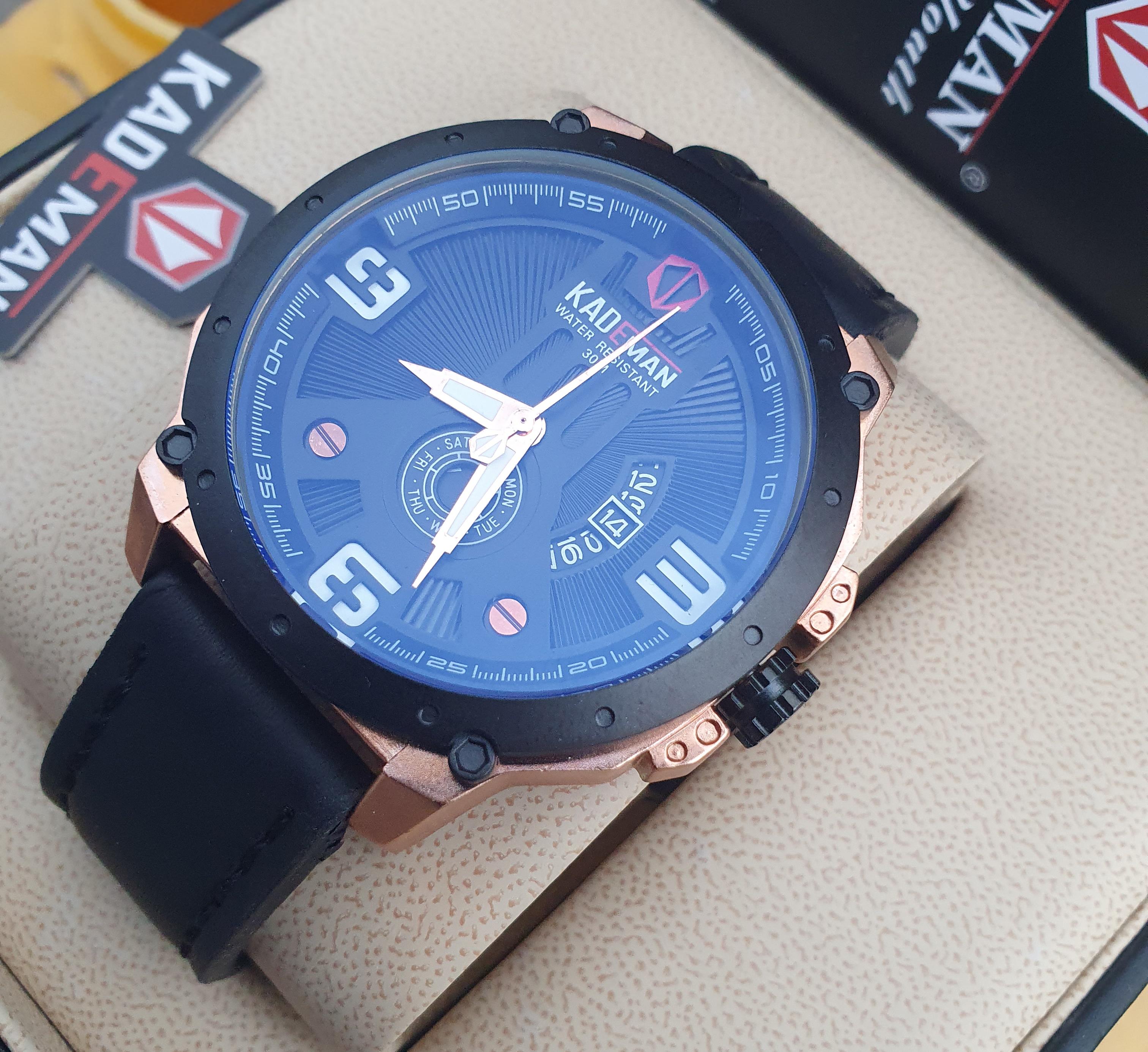 Kademan 6154G Watch With Days Leather Strap