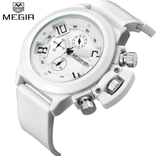 Megir M2002 Men Rubber White Watch