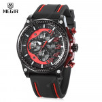 Megir M2051 Chronograph Amry Watch leather strap