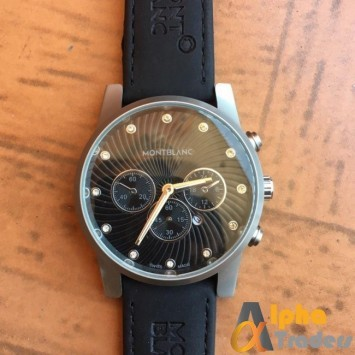 MontBlanc Black Watch Leather Strap With Date