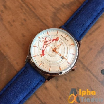 MontBlanc Blue Leather Strap Strap Watch With Date