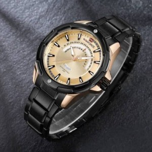 Naviforce NF-9121 Chain Strap Gold & Black Color Watch