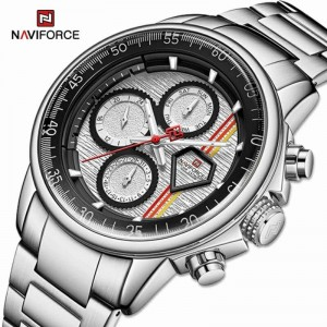 Naviforce NF-9184 Chain Strap Silver &  Black Color  Watch