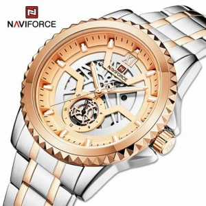 Naviforce NF9186 Chain Strap Silver & Rose Gold Color  Watch