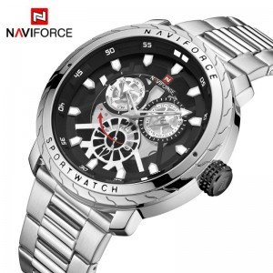 Naviforce NF-9158 Chain Strap Silver & Black Color Watch