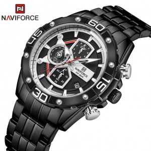 Naviforce NF8018 Chain Strap Black 7 White Color Watch