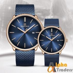 NAVIFORCE NF30038L pair watch blue chain