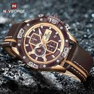 Naviforce NF8018 Leather Strap Coffee Color Watch