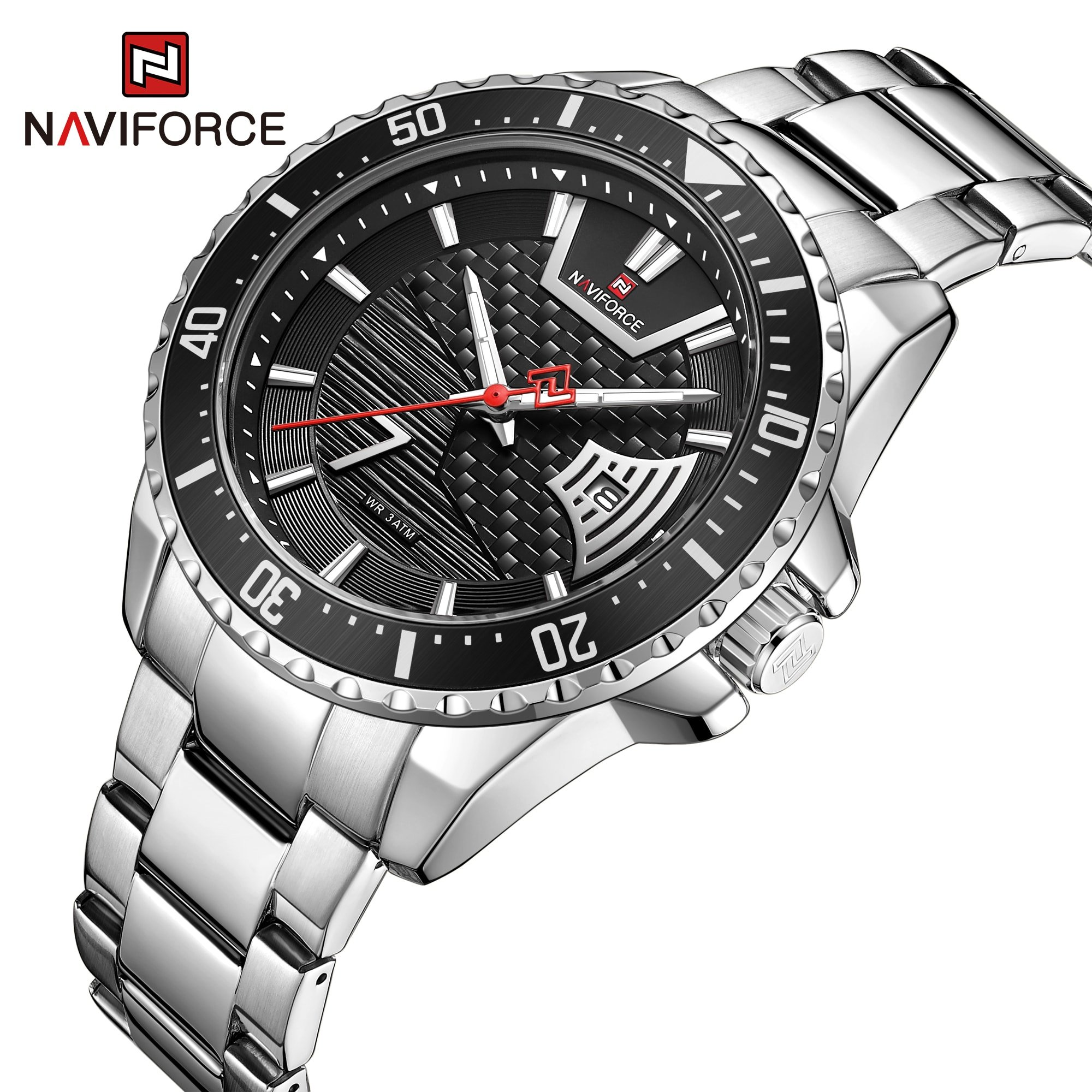 Naviforce NF-9191 Chain Strap Silver &  Black Color  Watch