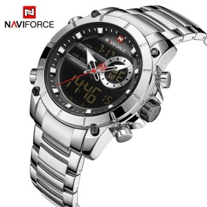 Naviforce NF9163 Chain Strap Silver & Black Color  Watch