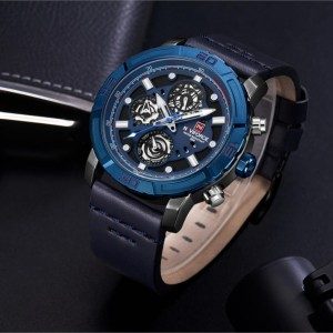 Naviforce NF-9139 Leather Strap Blu Color Watch