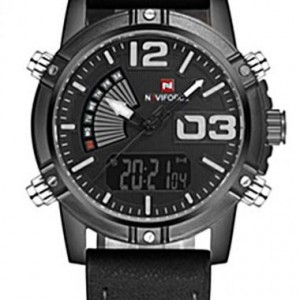 Naviforce NF9095 Leather Strap Black Color Watch