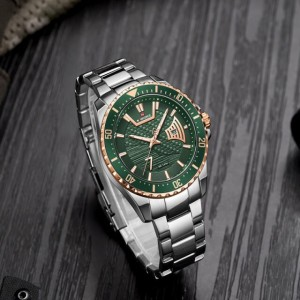 Naviforce NF9191 Chain Strap Gold & Green Color  Watch