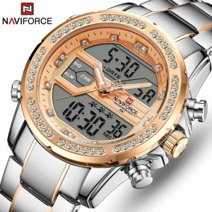 Naviforce NF9190 Chain Strap Silver & Gold Color  Watch